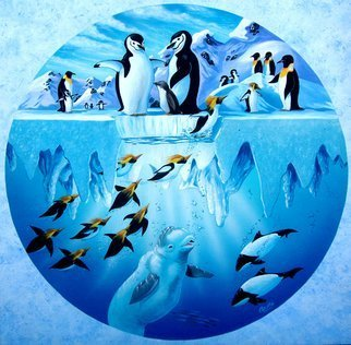 Environmental Artist Apollo; penguins playground, 1993, Original Painting Acrylic, 48 x 48 inches. Artwork description: 241 This image of playful penguins has been licensed for t- shirts and puzzles...