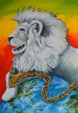Environmental Artist Apollo; white lion in chains, 2012, Original Painting Acrylic, 24 x 36 inches. Artwork description: 241 A white lion rests majestically, only to reveal that that he is held down by his golden chains...