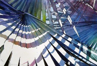 Jaimie Cordero; Bismarck, 2008, Original Watercolor, 19 x 13 inches. Artwork description: 241  Abstracted vision of palm fans exaggerating the geometric patterns of line, light, and shadow. Painted experimentally with non- realistic colors. ...