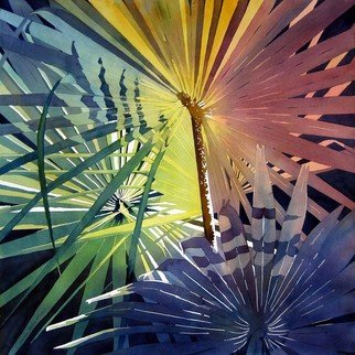 Jaimie Cordero; Hampton Palm Lights, 2008, Original Watercolor, 25 x 25 inches. Artwork description: 241  Abstracted vision of palm fans exaggerating the geometric patterns of line, light, and shadow. Painted experimentally with non- realistic colors. ...
