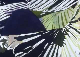 Jaimie Cordero; Palm Wave, 2006, Original Watercolor, 30 x 22 inches. Artwork description: 241  Abstracted vision of palm fans exaggerating the geometric patterns of line, light, and shadow. Painted experimentally with non- realistic colors. ...