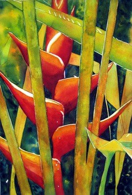 Jaimie Cordero; Queen Of Colombia, 2008, Original Watercolor, 13 x 19 inches. Artwork description: 241  Abstracted vision of Heliconia inflorescence, exaggerating the geometric patterns of line, light, and shadow. Painted experimentally with non- realistic colors. ...