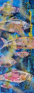 Ariadna De Raadt; Fishes In Sea, 2019, Original Painting Acrylic, 30 x 80 cm. Artwork description: 241 This is a bit relief semi- abstract painting by acrylic and covered by heavy transparent acrylic gloss. Ready to hung   behind a hanger   Painting, Acrylic, Abstract Expressionism, Conceptual Art, Contemporary painting, Canvas, Wood, Animals, Fish, Nature, Seasons, Water, fish, water, ocean, nature, ecological, season, sea ...