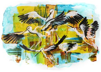 Ariadna De Raadt; White Storks, 2017, Original Mixed Media, 48 x 33 cm. Artwork description: 241  mix media op paper : acrylic, watercolor, ink in plastic frame with heavy plastic glass Painting, Acrylic, Gesso, Gouache, Ink, Watercolor, Art Deco, Conceptual Art, Contemporary painting, Figurative Art, Illustration, Paper, Animals, Nature, acrylic, animals, art, artwork, bird, colorful, drawing, ecological, graphic, illustration, mix media, nature, stork, texture, ...