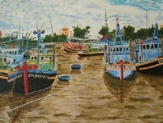 Paul Pole; Barkas, 2014, Original Painting Acrylic, 38 x 28 cm. Artwork description: 241 Boat, river...
