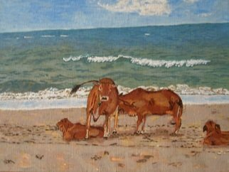 Paul Pole; Zebu, 2014, Original Painting Acrylic, 38 x 28 cm. Artwork description: 241 sea, of a cow...