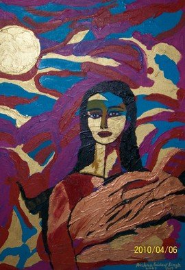 Archna Jaideep Singh; Awakening, 2007, Original Painting Acrylic, 61 x 77 cm. Artwork description: 241   The composition comprises acrylic paints on canvas. The myriad colours portray a successful journey from confusion to awakening. The posture and facial expression denote an innocent calmness. ...