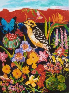 Mary Hatch; Golden Woodpecker, 2012, Original Painting Acrylic, 30 x 40 inches. Artwork description: 241  Part of the Bird series. Golden Woodpecker surrounded by flowers, a butterfly, and a Southwest red mountain in the background. Bold brilliant colors. ...