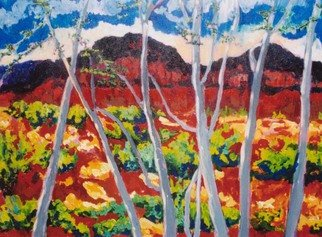 Mary Hatch; Looking Through Aspen Trees, 2008, Original Painting Acrylic, 40 x 30 inches. Artwork description: 241  Part of the Southwest- New Mexico Series. Painting of North Taos mountains and the Aspen trees. Brilliant colors, inspired by the mountains and aspen trees in the area. ...