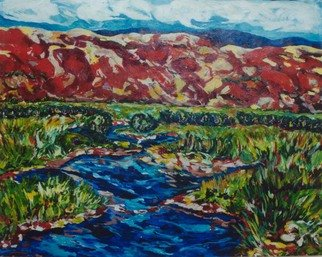 Mary Hatch; Meandering Stream, 2016, Original Painting Acrylic, 72 x 60 inches. Artwork description: 241  Part of the New Mexico Series. Painting of the Southwest. Brilliant colors, inspired by the mountains in the area. ...