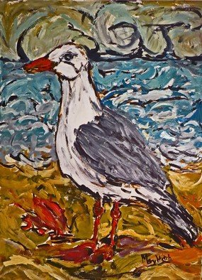 Mary Hatch; Sea Gull With Crab, 2017, Original Painting Acrylic, 22 x 30 inches. Artwork description: 241 Seagull on the Beach with crab on the sand, ocean in the background and turbulent sky. Work on Paper. ...
