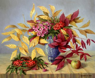 Arkady Zrazhevsky; Autumn Leaves And Branch ..., 2010, Original Painting Oil, 70 x 60 cm. Artwork description: 241  Autumn, leaves, still- life, mountain ash, phloxes, flowers, realism  ...
