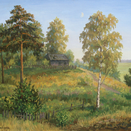 Arkady Zrazhevsky, , , Original Painting Oil, size_width{Young_month_in_the_July_evening-1291142973.jpg} X 65 cm