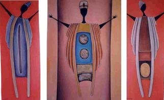 Arlene Magloire; Ougou Ouganda Ougoura, 1996, Original Painting Acrylic, 48 x 32 inches. Artwork description: 241 Triptych...