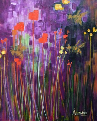 Arrachme Art; Aunt Bee, 2016, Original Painting Acrylic, 24 x 36 inches. Artwork description: 241  Poured and painted art.  Memory Gardens acknowledge friends and family.  abstract, trees, garden, flowers, bees, landscape, happy blooms, purple, yellow, green, red, arrachmeart ...