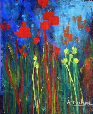 Arrachme Art; Generations, 2016, Original Painting Other, 8 x 10 inches. Artwork description: 241  Poured and painted canvas board. Memory Gardens acknowledge friends and family. abstract, garden, flowers, landscape, happy blooms, green, red, arrachmeart ...