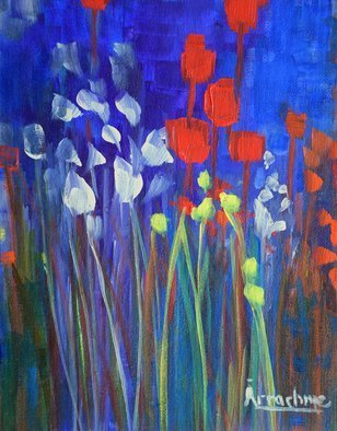 Arrachme Art; Girl Talk, 2016, Original Painting Acrylic, 8 x 10 inches. Artwork description: 241 Pouredand painted on canvas board. Memory Gardens acknowledge friends and family. abstract, garden, flowers, landscape, happy blooms, green, red, arrachmeart ...