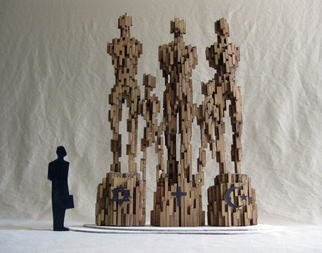 Rafael Arrieta-Eskarzaga; Harmony, 2007, Original Sculpture Wood, 12 x 15 inches. Artwork description: 241   We are all an extension of one another:  Three major religions co- existing.  Maquette for monumental bronze.  ...