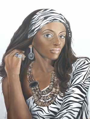 Karen Longden-Sarron; Lady In Zebra Print, 2010, Original Painting Oil, 97 x 102 cm. Artwork description: 241  Oil Painting, South African Beauty ...