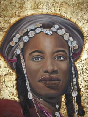 Karen Longden-Sarron; Lady With Coins, 2010, Original Painting Oil, 97 x 102 cm. Artwork description: 241  Painting of a traditional African woman. Oil with Gold leaf. ...