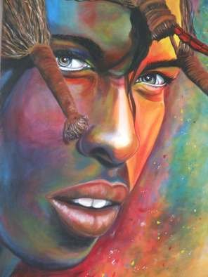 Karen Longden-Sarron; Vibrant Warrior, 2011, Original Painting Acrylic, 80 x 60 cm. Artwork description: 241  Painting, People, faces, acrylic, figurative,  ...