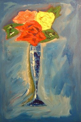 Bud Cassiday; Blue Vase With Flowers , 2007, Original Painting Acrylic, 16 x 24 inches. Artwork description: 241  Flowers in a blue vase.  ...
