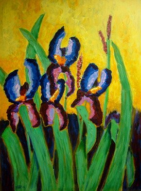 Bud Cassiday; Irises , 2008, Original Painting Acrylic, 24 x 36 inches. Artwork description: 241  Irises are among my favorite flowers.  And  when all else fails, I always say, paint a flower! ...