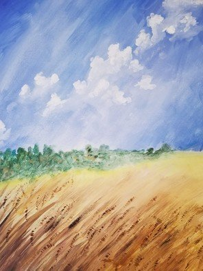 Janet Lapelusa; Harvest Time, 2019, Original Painting Acrylic, 18 x 24 inches. Artwork description: 241 WHEAT FIELD TREE LINE AND PUFFY CLOUDS ...