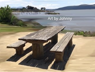 Johnny Garcia; Table With A View, 2014, Original Mixed Media, 13.5 x 17 inches. Artwork description: 241  picnic table, table, water view, river,     ...