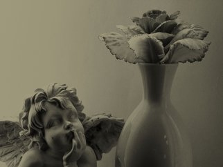 Linda Tenenbaum; Still Life, 2007, Original Photography Other, 9 x 12 inches. Artwork description: 241  A small angel looks at a 'flower' in a vase. The flower is actually a decorative cabbage rose.  ...
