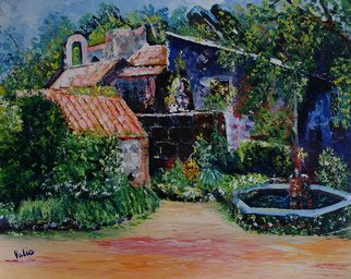 Valerie Curtiss; Convento Dos Capuchos , 2014, Original Painting Oil, 30 x 24 inches. Artwork description: 241   A painting depicting the Convento dos Capuchos, or cork convent in Simtra, Portugal. A very small monastery built in and around the rocks on the hillside, the walls were insulated with cork which is abundant in the region. ...