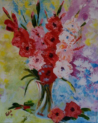 Valerie Curtiss; Glad All Over, 2014, Original Painting Acrylic, 16 x 20 inches. Artwork description: 241  Still life, a bunch of gladiolus, glads, vase, pinks, yellow, palette knife, acrylic, flowers, floral ...