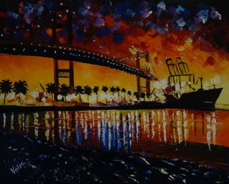 Valerie Curtiss; Night On The Bridge, 2014, Original Painting Oil, 20 x 16 inches. Artwork description: 241  The Vincent Thomas bridge in San Pedro, California at night, with reflections, lights, ships, harbor, water, oil. ...