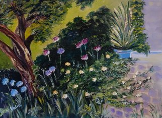Valerie Curtiss; Peaceful Corner, 2013, Original Painting Oil, 22 x 16 inches. Artwork description: 241  Depicting a quiet peaceful corner in a garden in Portugal.  Nature, gardening, bushes, pots, flowers, tree, patio, allium, floral, rocks, green, oil  ...