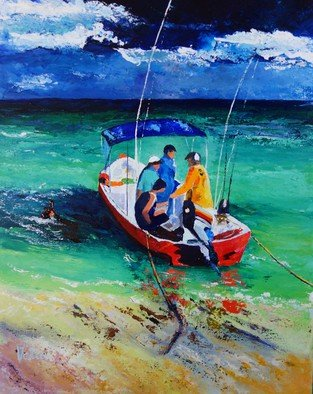Valerie Curtiss; READY FOR FISHING , 2015, Original Painting Acrylic, 16 x 20 inches. Artwork description: 241  Boat, fishing, gulf, fishermen, water, sea, waves, turquoise, a study of fishermen in a boat ready for a day's fishing on the gulf. ...