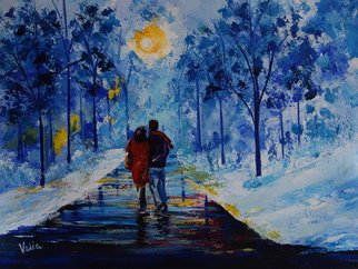 Valerie Curtiss; WINTER WALK, 2014, Original Painting Acrylic, 20 x 16 inches. Artwork description: 241  A couple on a winter walk on an icy snowy day, sunset, reflections, trees, park, city, blue, impressionism, palette knife, acrylic ...