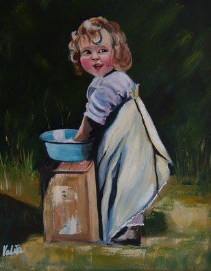 Valerie Curtiss; Washday, 2011, Original Pastel Oil, 16 x 20 inches. Artwork description: 241  A painting inspired by a photo of a friend taken in 1921 and published in a california newspaper.  Washing, play, child, girl, washtub, garden, fun, oil  ...