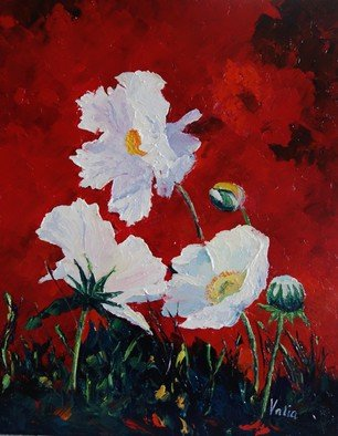Valerie Curtiss; White On Red, Poppies, 2015, Original Painting Oil, 16 x 20 inches. Artwork description: 241  Floral, red, white, poppies, field, meadow, wildflower, summer, nature, plants, palette knife, acrylic    ...