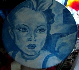 Meghann Frickberg; Shanine, 2004, Original Painting Other, 15 x 15 inches. Artwork description: 241 Blue glass paint on fabric...