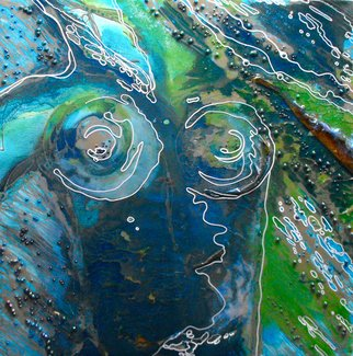 Carla Goldberg; Calypso And The Gathering..., 2009, Original Mixed Media, 24 x 24 inches. Artwork description: 241  This is the beginning of a new series of work that plays with the myths and legends of the River Goddess. It is said that the River Goddess is responsible for the waves in the river. Anger her and she can be vengeful. Gentle ripples come from ...