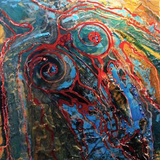 Carla Goldberg; Goddess Sangria, 2009, Original Mixed Media, 24 x 24 inches. Artwork description: 241  This is the beginning of a new series of work that plays with the myths and legends of the River Goddess. It is said that the River Goddess is responsible for the waves in the river. Anger her and she can be vengeful. Gentle ripples come from ...