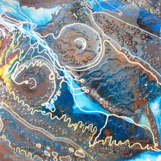 Carla Goldberg; Katarina Goddess Of Skogas, 2009, Original Mixed Media, 24 x 24 inches. Artwork description: 241  This is the beginning of a new series of work that plays with the myths and legends of the River Goddess. It is said that the River Goddess is responsible for the waves in the river. Anger her and she can be vengeful. Gentle ripples come from ...