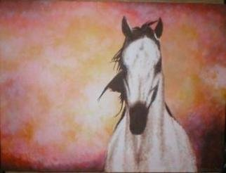 Painter Artdiem; White Horse, 2006, Original Painting Acrylic, 24 x 18 inches.