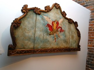 Gennaro Garcia; El Retablo Del Angel, 2008, Original Painting Oil, 6 x 3 feet. Artwork description: 241  hand carved headboard hand painted with oils and gold leafing. ...