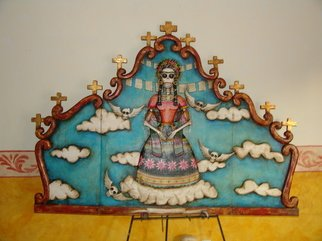 Gennaro Garcia; Mi Frida Loca, 2008, Original Woodworking, 6 x 4 feet. Artwork description: 241  hand carved headboard retablo style hand painted with acrilics and oils and goldleafing ...