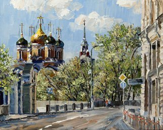 Artemis  Artists Association; Street Varvarka, 2015, Original Painting Oil, 30 x 24 cm. Artwork description: 241  Russia, Moscow, historic center of the city, street, cathedral bell tower, houses, road, trees ...