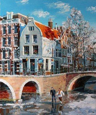 Artemis  Artists Association; Winter Amsterdam, 2013, Original Painting Oil, 50 x 60 cm. Artwork description: 241  Europe, Netherlands, Holland, Amsterdam, city, street, house, canal, bridge, sunny day, winter, snow, ice, skates, people, men, girl, lady, art for sale, oil painting, Russia, Russian painting ...