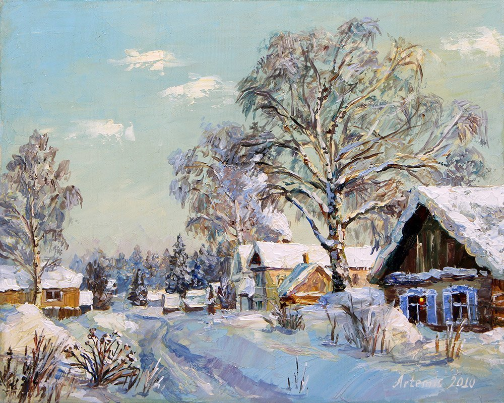 Artemis  Artists Association; Winter in countryside, 2010, Original Painting Oil, 30 x 24 cm. Artwork description: 241 Art for sale, framed oil painting, Russia, Sell Art Online, Art For Sale, Free Art Gallery, Sell Paintings, winter, village, sun, nature, birch, snow, way, house...