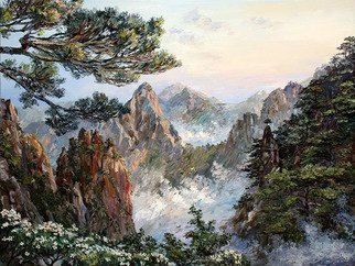 Artemis  Artists Association; huangshan, 2016, Original Painting Oil, 80 x 60 cm. Artwork description: 241 China, mountains, dawn, fog, rock, wildlife, sunrise, summer, chinese landscape, mountain range, mountain landscape, pines...
