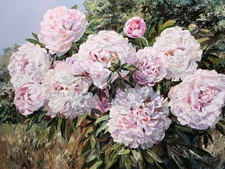 Artemis  Artists Association; peonies in garden, 2017, Original Painting Oil, 80 x 60 cm. Artwork description: 241 nature, garden, beautiful flowers, flower, bud, petals, tenderness, sun, sunny day, glade, meadow, bush, tree, summer, June, luxurious bouquet, magic fragrance, terry peonies, white, pink...